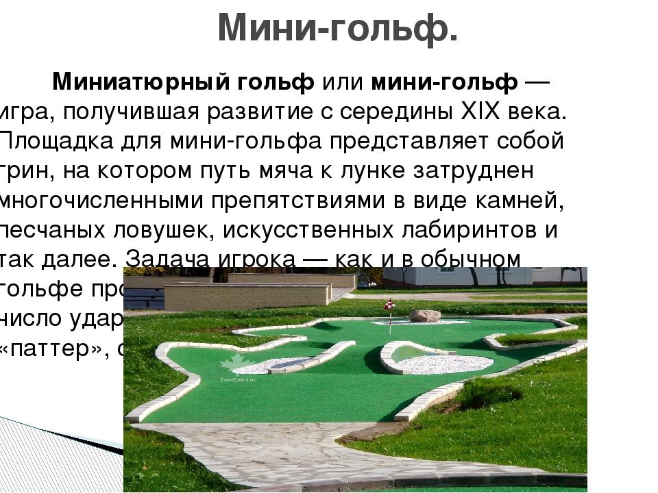 Миниатюрный гольфилимини-гольф— игра, получившая развитие с середины XIX...