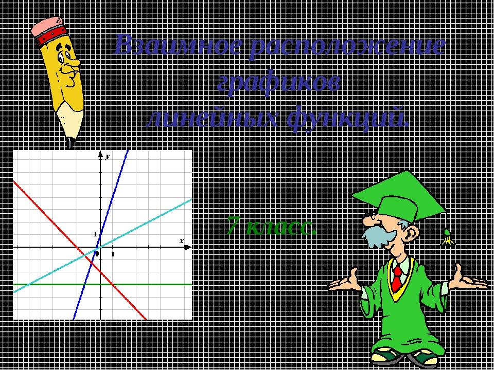 Взаимное расположение графиков линейных функций. 7 класс.
