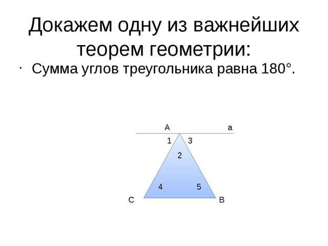 Докажем одну из важнейших теорем геометрии: Сумма углов треугольника равна 18...