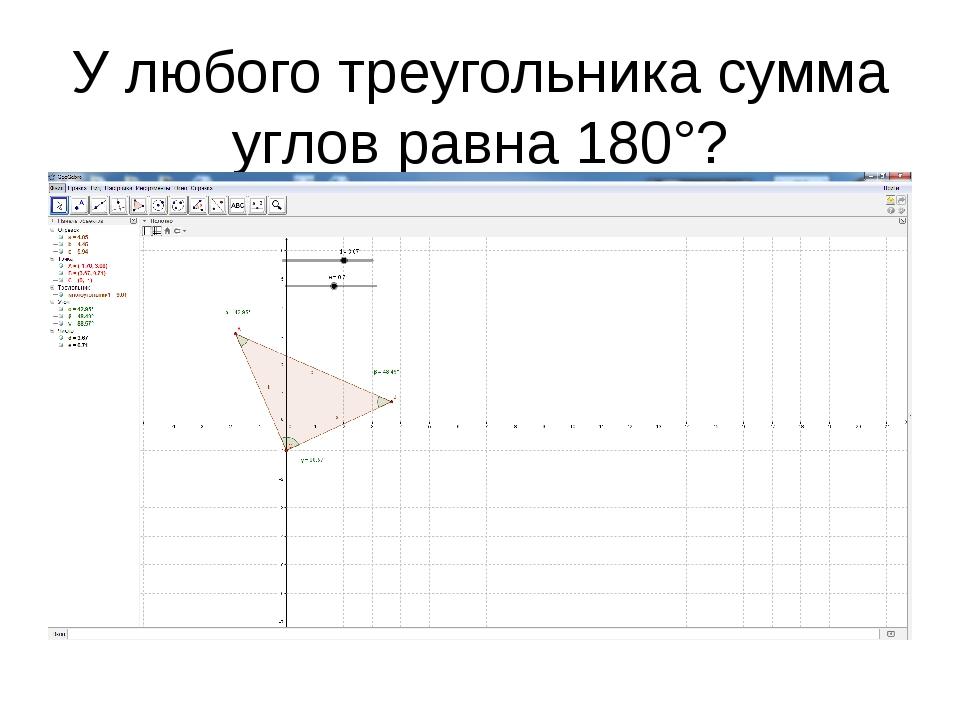 У любого треугольника сумма углов равна 180°?