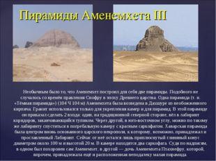Пирамиды Аменемхета III  Необычным было то, что Аменемхет построил для себя