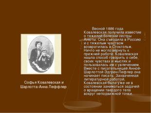 Весной 1886 года Ковалевская получила известие о тяжелой болезни сестры Анют