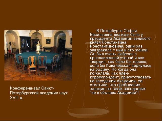 В Петербурге Софья Васильевна дважды была у президента Академии великого кня...