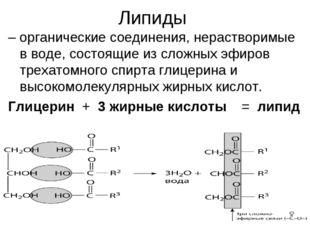 Липиды – органические соединения, нерастворимые вводе, состоящие из сложных