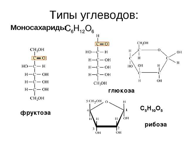 Типы углеводов: Моносахариды глюкоза фруктоза С6Н12О6 рибоза С5Н10О5