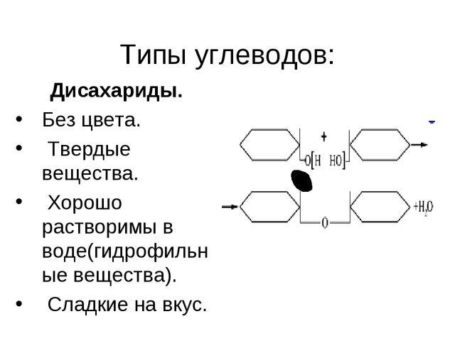 Типы углеводов: Дисахариды. Без цвета. Твердые вещества. Хорошо растворимы в...
