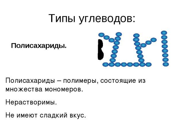 Типы углеводов: Полисахариды. Полисахариды – полимеры, состоящие из множества...