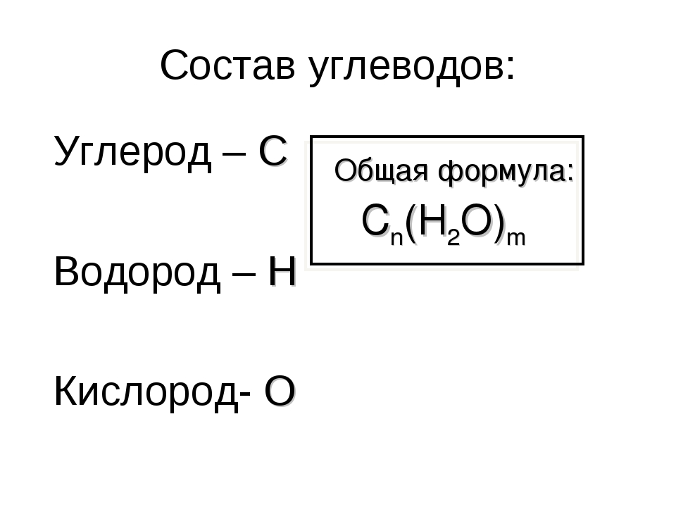 Состав углеводов: Углерод – C Водород – H Кислород- O