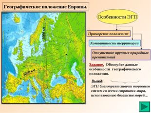 Географическое положение Европы. Особенности ЭГП Приморское положение Компакт