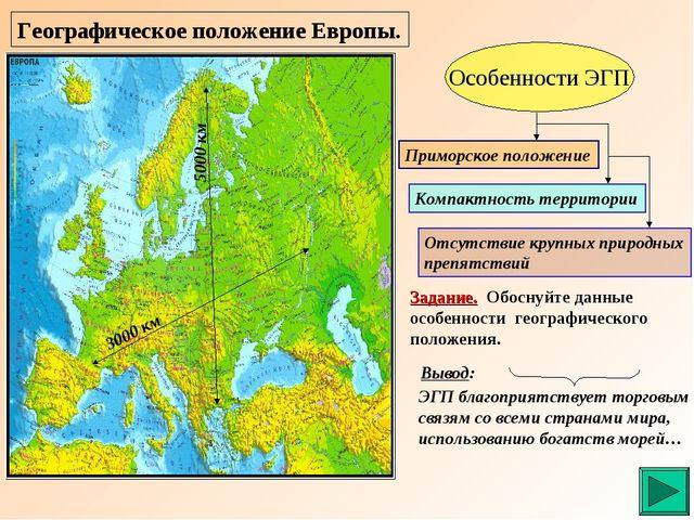 Географическое положение Европы. Особенности ЭГП Приморское положение Компакт...