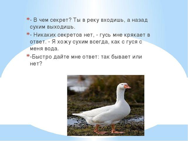 - В чем секрет? Ты в реку входишь, а назад сухим выходишь. - Никаких секрето...