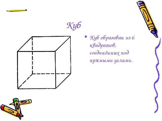 Куб Куб образован из 6 квадратов, соединённых под прямыми углами.
