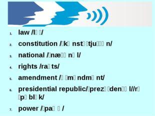 law /lɔː/ constitution /ˌkɒnstɪˈtjuːʃən/ national /ˈnæʃənəl/ rights /raɪts/