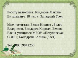 Работу выполнил: Бондарев Максим Витальевич, 18 лет, с. Западный Угол Мне пом
