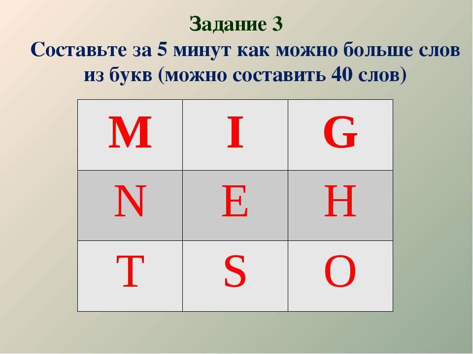 Задание 3 Составьте за 5 минут как можно больше слов из букв (можно составить...