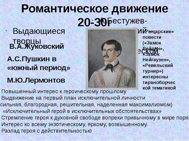 Романтическое движение 20-30г Выдающиеся творцы В.А.Жуковский А.С.Пушкин в «ю...