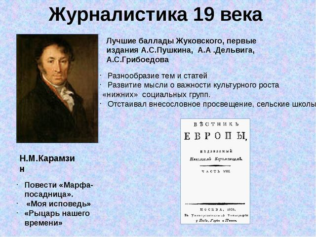 Журналистика 19 века Н.М.Карамзин Повести «Марфа-посадница». «Моя исповедь» «...