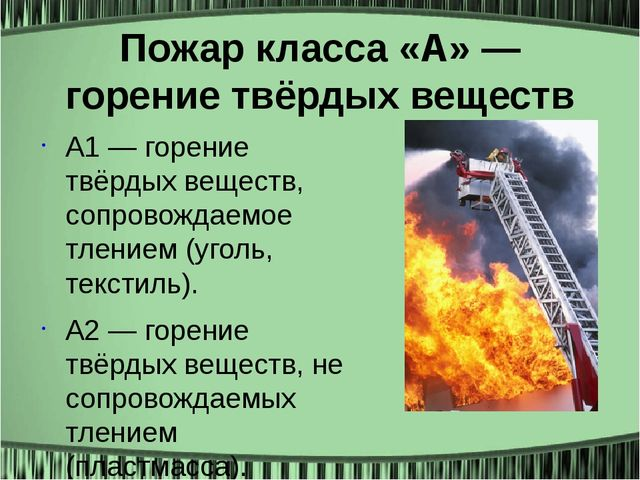 Пожар класса «А» — горение твёрдых веществ А1 — горение твёрдых веществ, сопр...