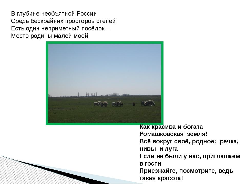 В глубине необъятной России Средь бескрайних просторов степей Есть один непр...