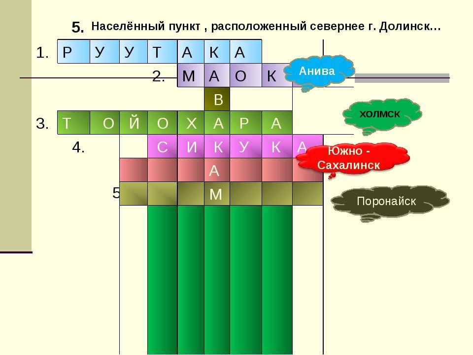 5. Анива ХОЛМСК Населённый пункт , расположенный севернее г. Долинск… Поронай...