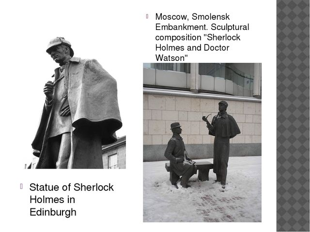 Statue of Sherlock Holmes in Edinburgh Moscow, Smolensk Embankment. Sculptura...
