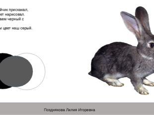 Серый зайчик прискакал, Серый цвет нарисовал. Мы смешаем черный с белой И пол