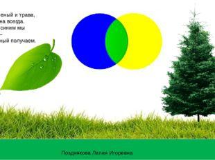 Лист – зеленый и трава, Ёлка зелена всегда. Желтый с синим мы смешаем – Цвет