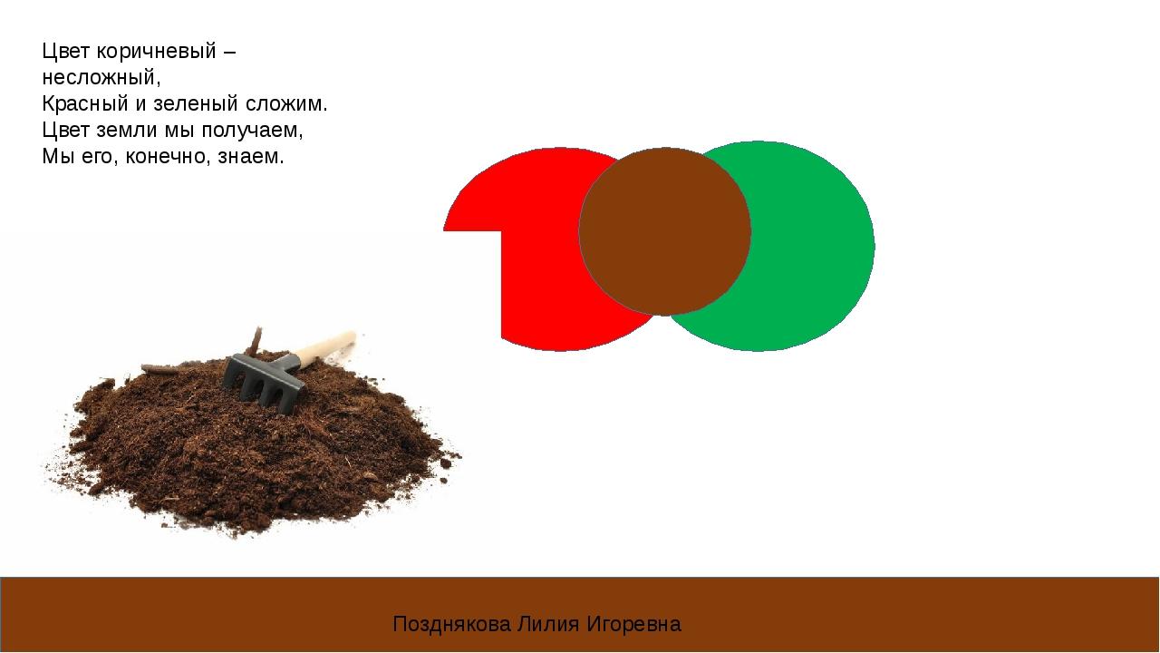 Цвет коричневый – несложный, Красный и зеленый сложим. Цвет земли мы получаем...