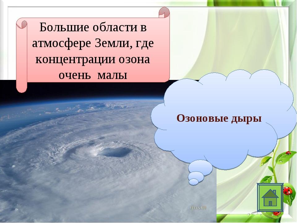 Большие области в атмосфере Земли, где концентрации озона очень малы Озоновы...