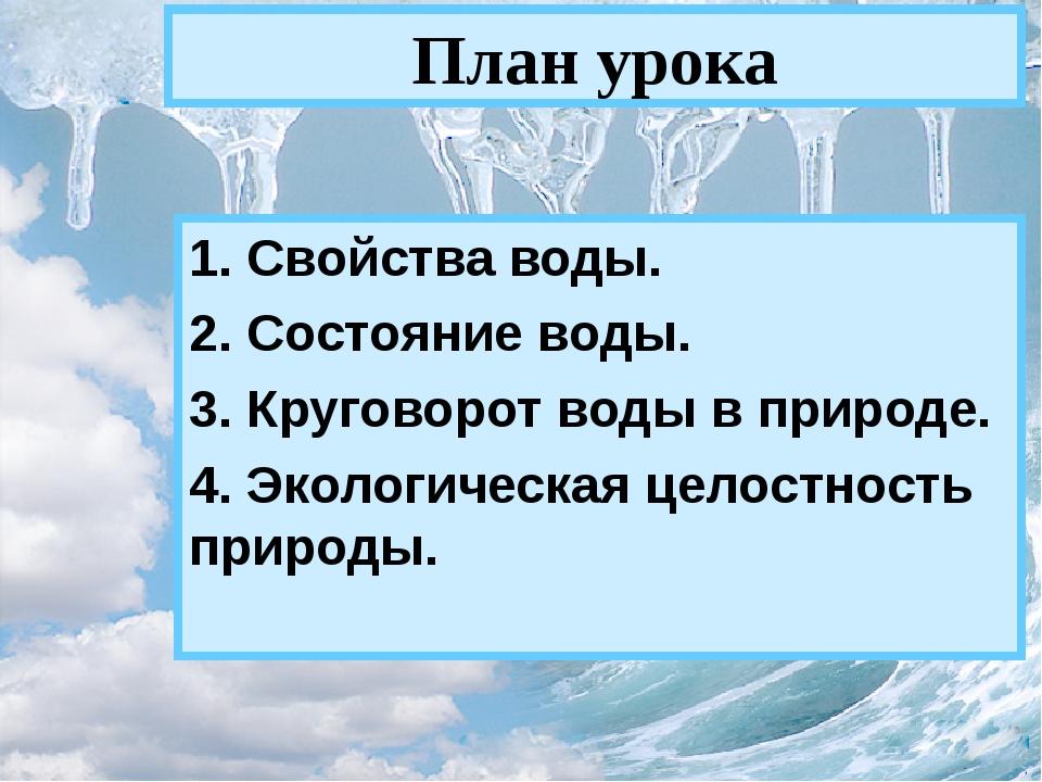 План урока 1. Свойства воды. 2. Состояние воды. 3. Круговорот воды в природе....