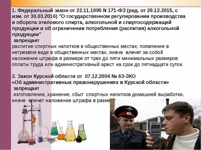 1. Федеральный закон от 22.11.1995 N 171-ФЗ (ред. от 29.12.2015, с изм. от 30...