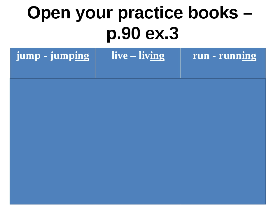 Open your practice books – p.90 ex.3 jump- jumping live– living run- running...