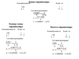 Реальный размер см 100 х На рис. см 1 15 Составим пропорцию: Длина тиранноза