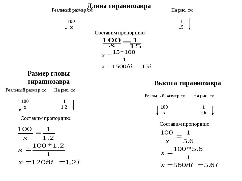 Реальный размер см 100 х На рис. см 1 15 Составим пропорцию: Длина тиранноза...