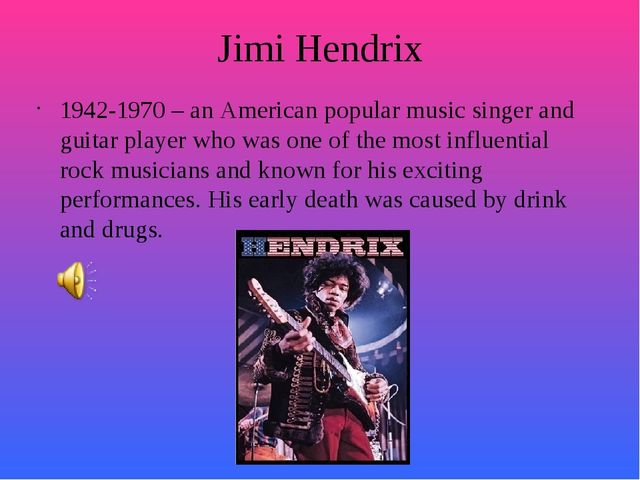 Jimi Hendrix 1942-1970 – an American popular music singer and guitar player w...