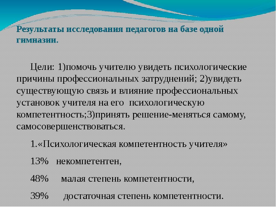Результаты исследования педагогов на базе одной гимназии. Цели: 1)помочь учи...