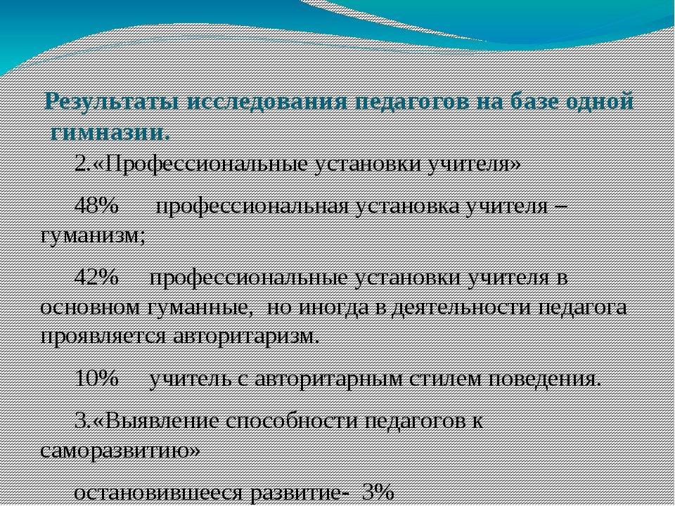 Результаты исследования педагогов на базе одной гимназии. 2.«Профессиональны...