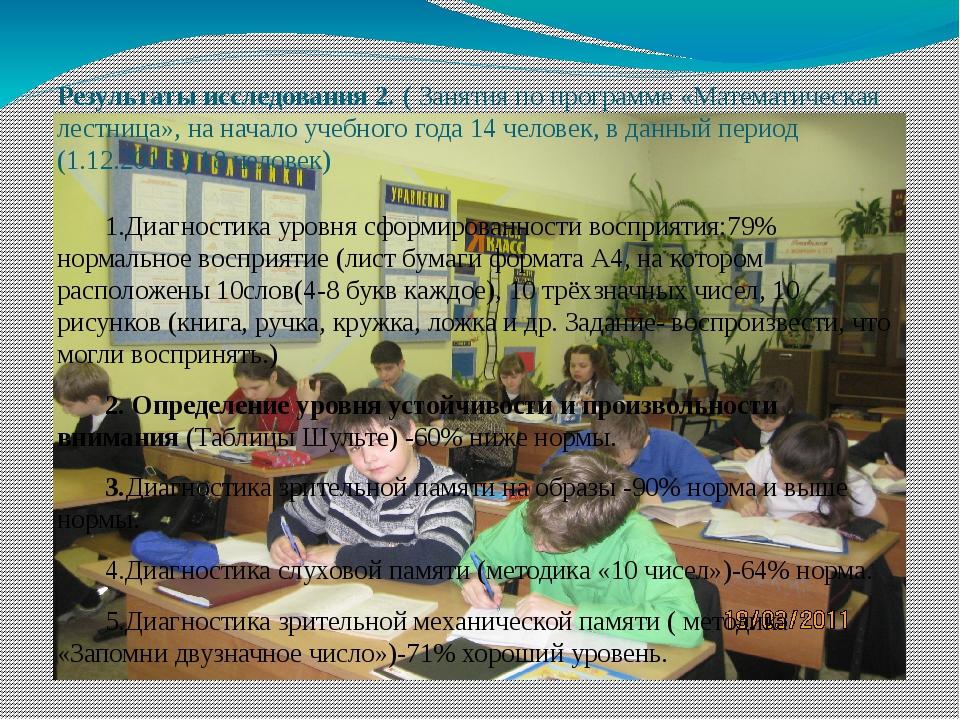 Результаты исследования 2. ( Занятия по программе «Математическая лестница»,...