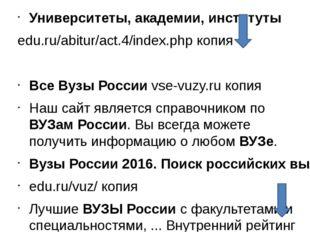 Университеты, академии, институты edu.ru/abitur/act.4/index.php копия Все Ву