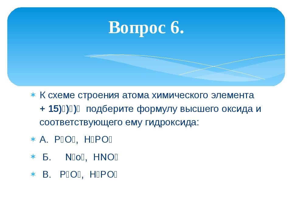 К схеме строения атома химического элемента + 15)₂)₈)₅ подберите формулу высш...