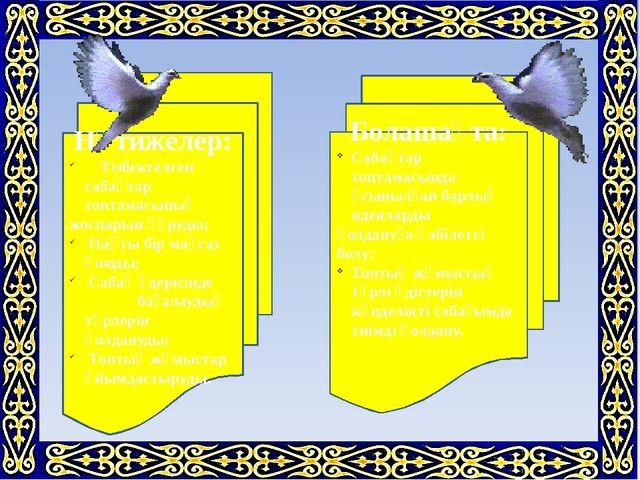 Болашақта: Сабақтар топтамасында ұсынылған барлық идеяларды қолдануға қабілет...