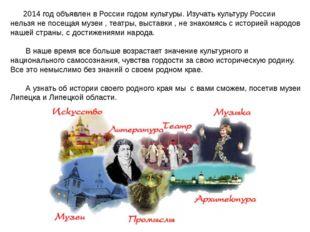 2014 год объявлен в России годом культуры. Изучать культуру России нельзя не