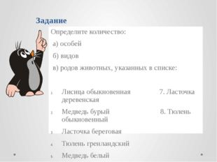 Задание Определите количество: а) особей б) видов в) родов животных, указанны