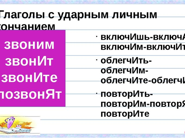 Глаголы с ударным личным окончанием включИшь-включАт-включИм-включИте облегч...