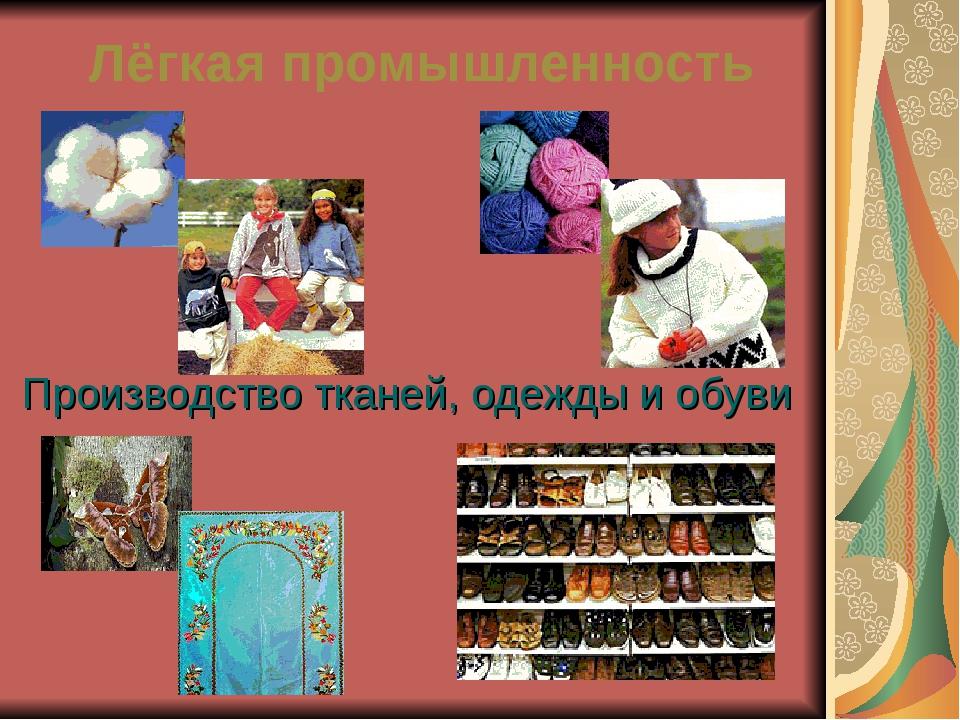 Лёгкая промышленность Производство тканей, одежды и обуви