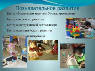 Познавательное развитие Центр «Мы познаём мир» или Уголок краеведения Центр с