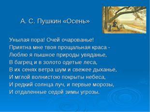 А. С. Пушкин «Осень» Унылая пора! Очей очарованье! Приятна мне твоя прощальна