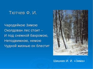 Тютчев Ф. И. Чародейкою Зимою Околдован лес стоит – И под снежной бахромою, Н