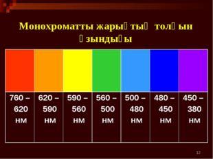 * Монохроматты жарықтың толқын ұзындығы  760 – 620 нм620 – 590 нм 590