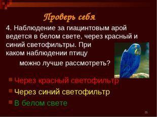 * 4. Наблюдение за гиацинтовым арой ведется в белом свете, через красный и си